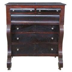Antique 19th Century American Empire Walnut Tallboy Dresser Chest of Drawers