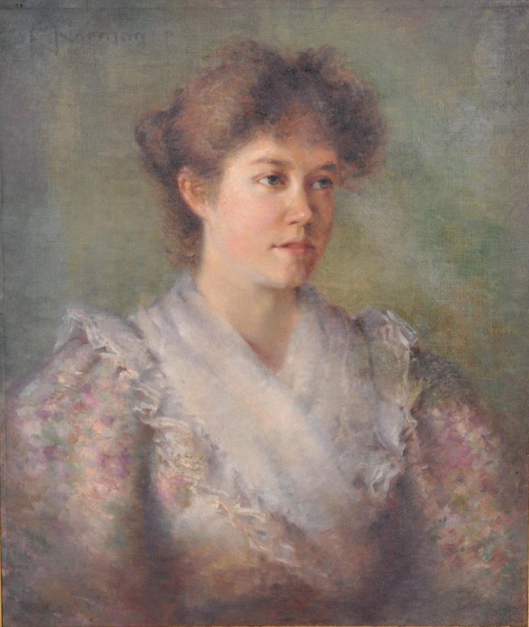 Antique late 19th century American impressionist female portrait painting, circa 1890. A very handsome Impressionist portrait of a youthful lady in late 19th century dress. Oil on canvas, signed to the upper left
