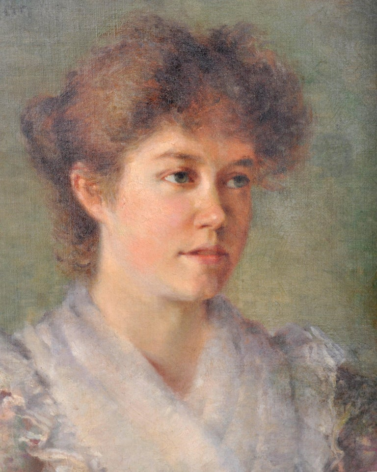Victorian Antique 19th Century American Impressionist Female Portrait Painting, circa 1890 For Sale
