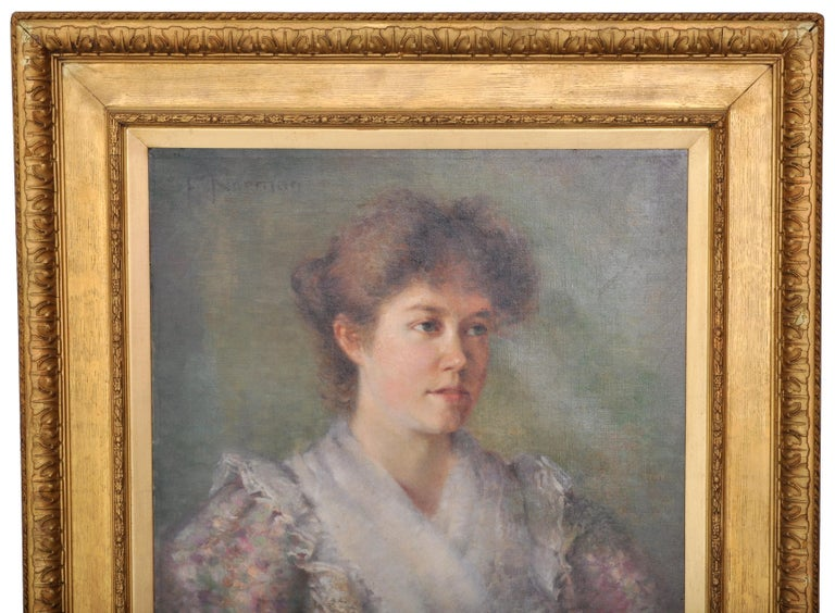 Antique 19th Century American Impressionist Female Portrait Painting, circa 1890 In Good Condition For Sale In Portland, OR