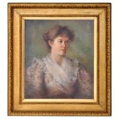 Antique 19th Century American Impressionist Female Portrait Painting, circa 1890