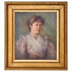 Antique 19th Century American Impressionist Female Portrait Painting, circa 1890
