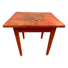 Antique 19th Century American Primitive Red Painted Game Table Chess
