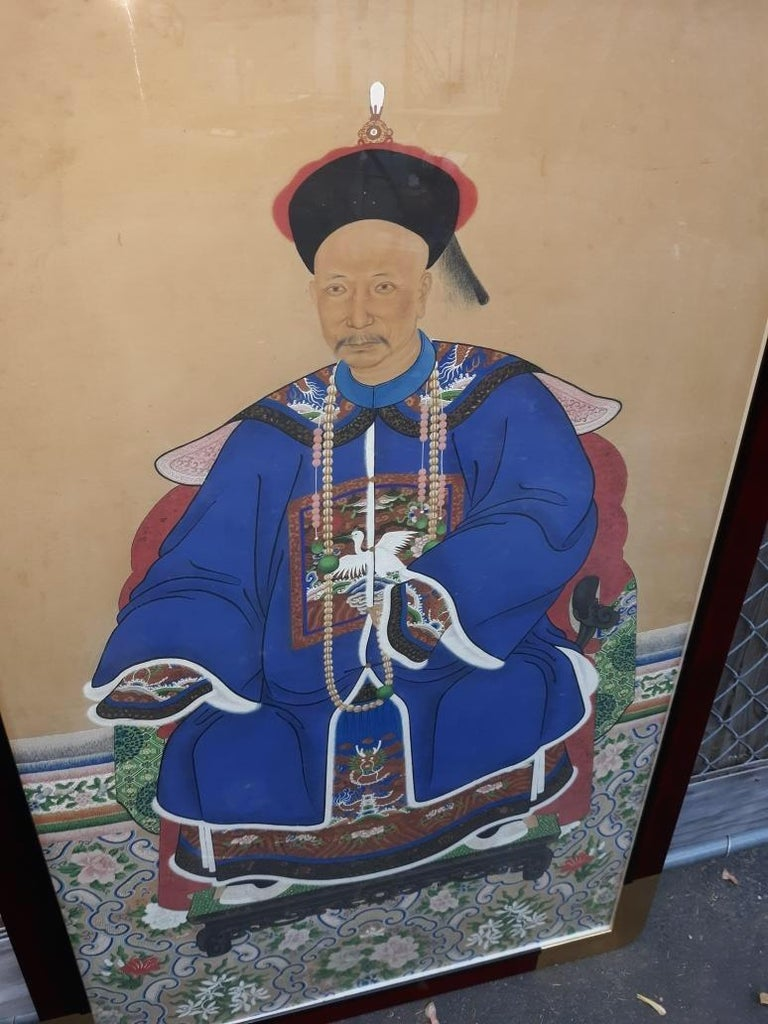 Chinese Antique 19th Century Ancestral Painting For Sale