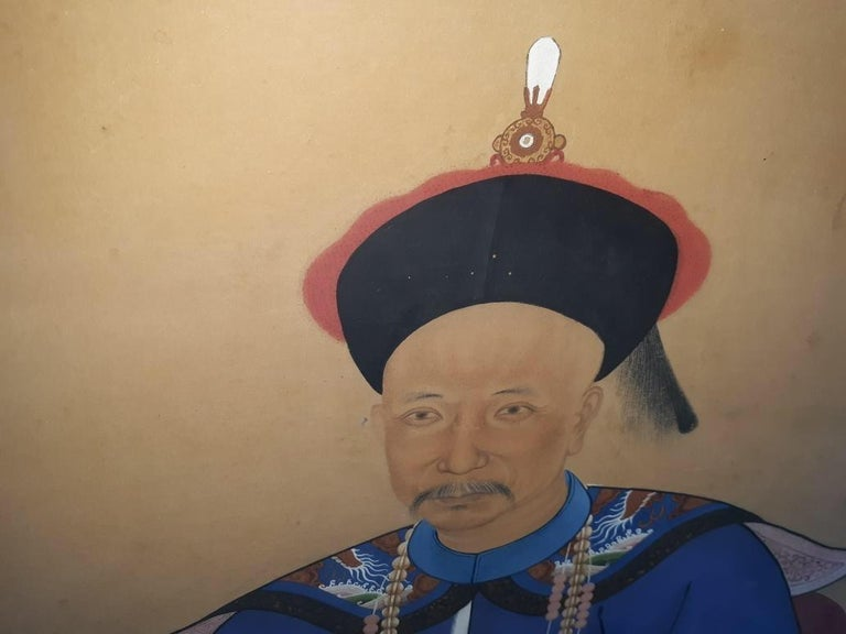 Gilt Antique 19th Century Ancestral Painting For Sale