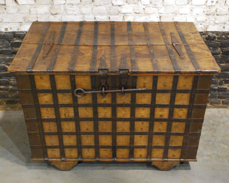 Forged Antique 19th Century Anglo-Indian Haveli Trunk with Iron-Clad Fittings For Sale