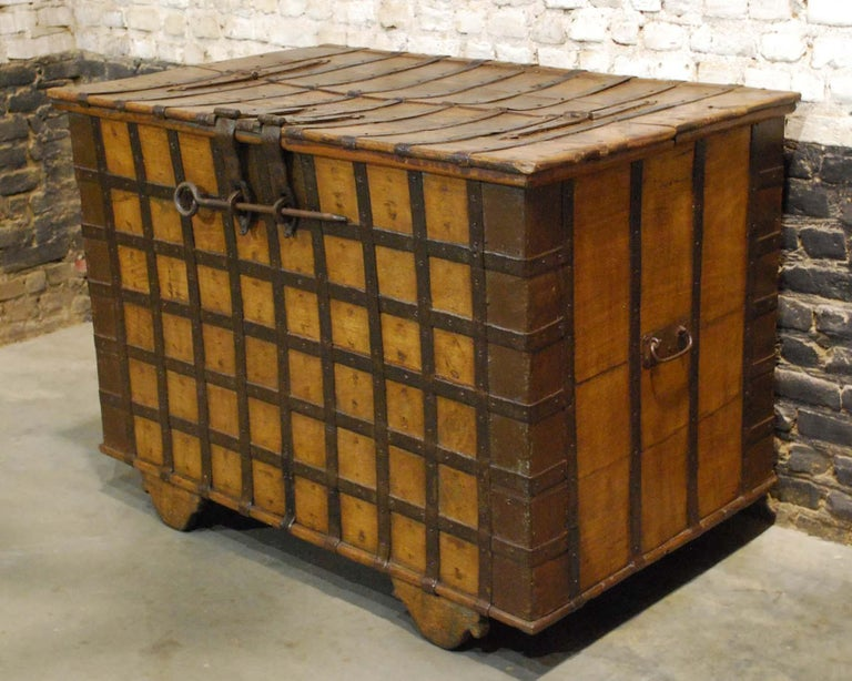 Steel Antique 19th Century Anglo-Indian Haveli Trunk with Iron-Clad Fittings For Sale