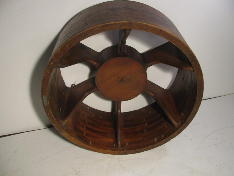 Antique architectural mold in the form of a wheel. All handmade and entirely intact. Can be hung on a wall or with a piece of glass on top used as a cocktail table.