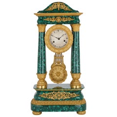 Antique 19th Century Bourbon Restauration Malachite and Gilt Bronze Mantel Clock