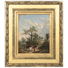 Antique 19th Century British School Oil Painting of Farmer and Animals