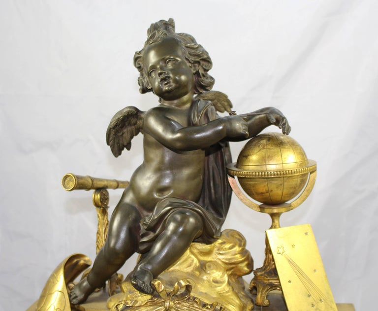 Antique 19th Century Bronze and Marble Ormolu Mantle Clock In Good Condition For Sale In Worcester, Worcestershire