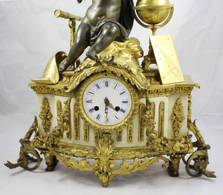 Antique 19th Century Bronze and Marble Ormolu Mantle Clock For Sale 4