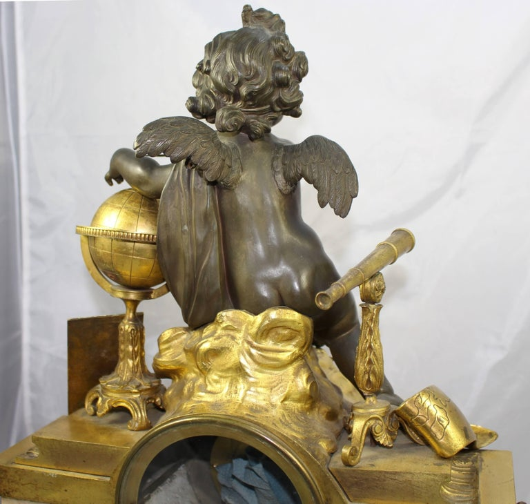 Antique 19th Century Bronze and Marble Ormolu Mantle Clock For Sale 6