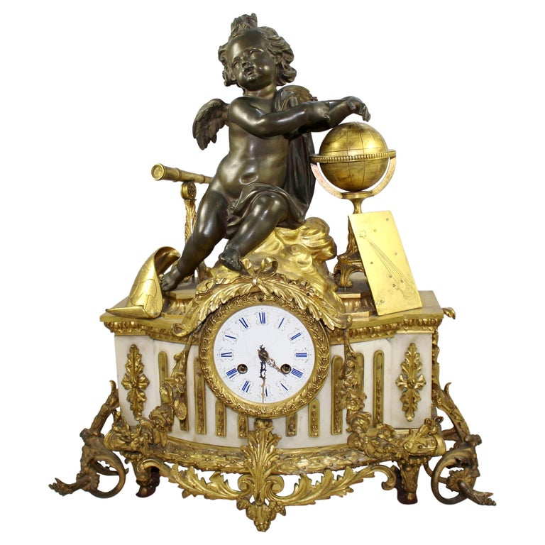 Antique 19th Century Bronze and Marble Ormolu Mantle Clock For Sale
