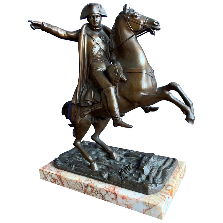 French Antique Stately Bronze Napoleon on Prancing Horse Sculpture, Marble Base For Sale