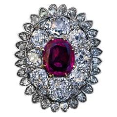 Antique 19th Century Burma Ruby 7 Carat Diamond Pendant