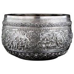 Antique 19th Century Burmese Silver Thabeik Bowl