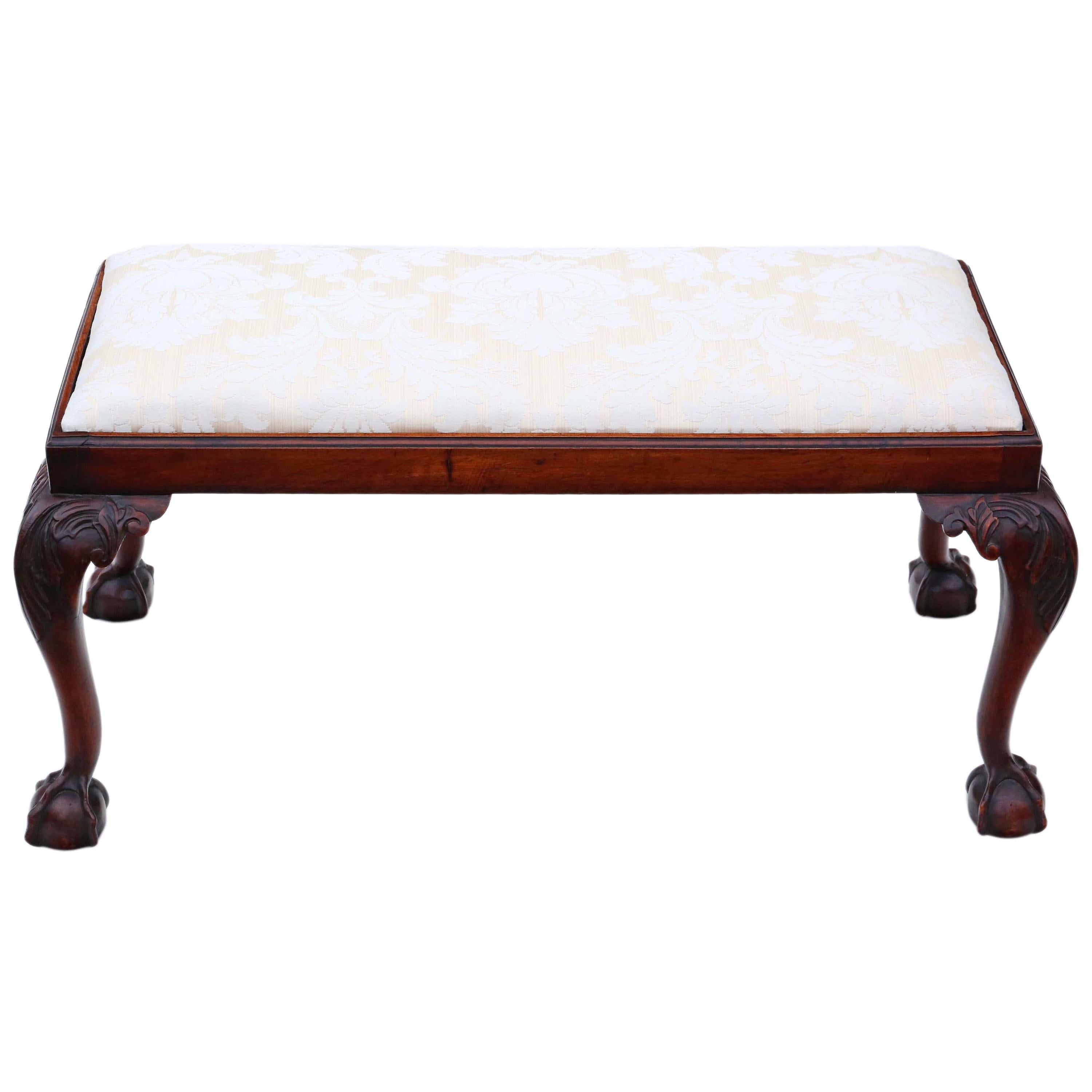 Antique 19th Century Carved Mahogany Double Stool or Window Seat