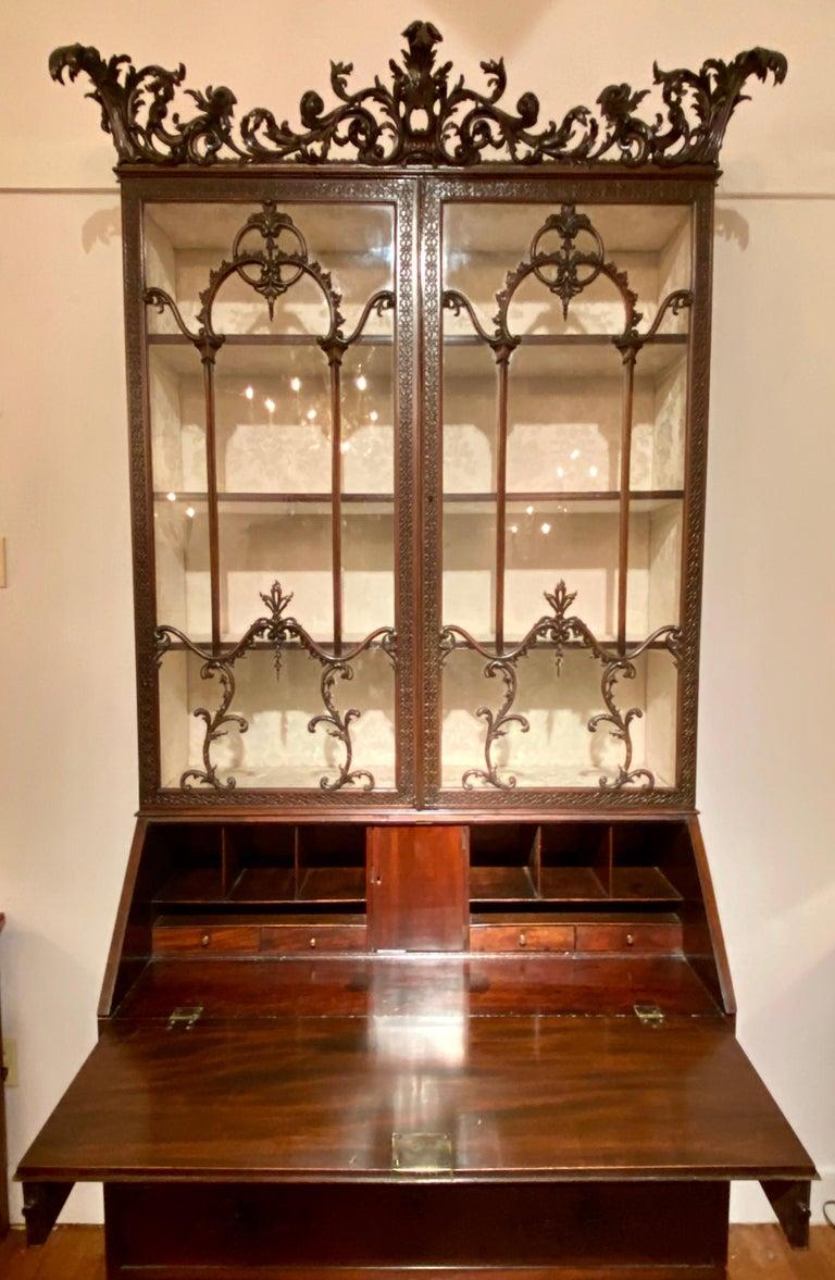 English Antique 19th Century Carved Mahogany Secretary Bookcase, circa 1880-1890 For Sale