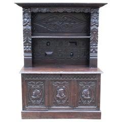 Antique 19th Century Carved Oak Dresser