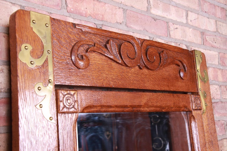 Antique 19th Century Carved Oak Dresser with Mirror For Sale 3