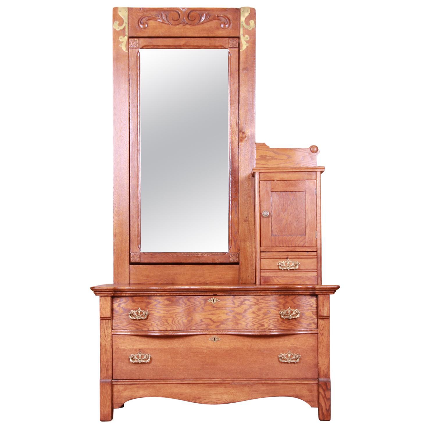 Antique 19th Century Carved Oak Dresser with Mirror