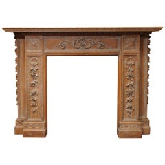 Antique 19th Century, Carved Wood Mantel