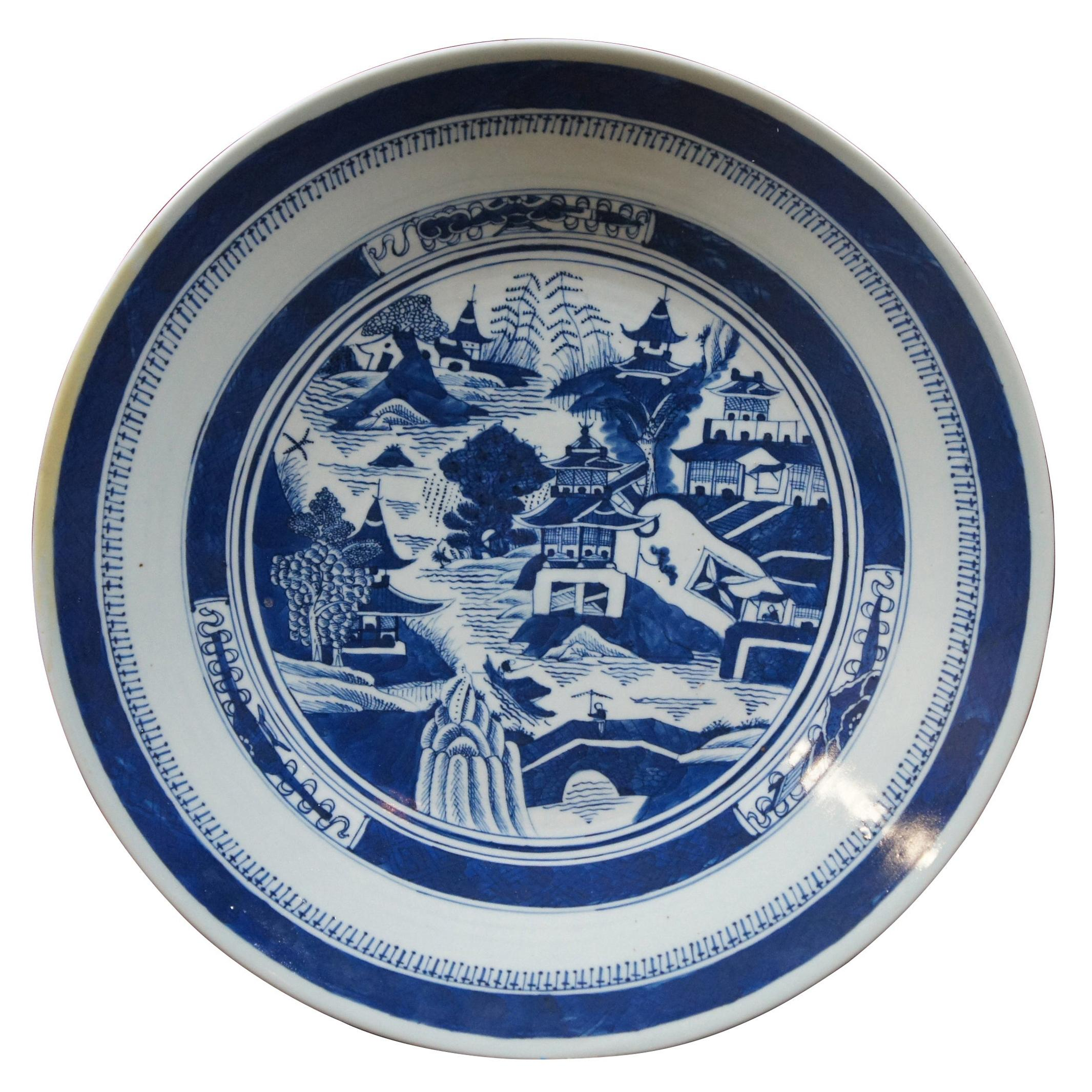 Antique 19th Century Chinese Export Canton Nanking Platter Blue & White