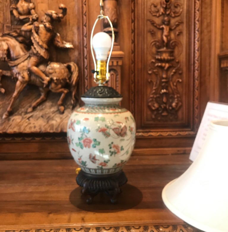 Late 19th Century Antique 19th Century Chinese Porcelain Lamp For Sale