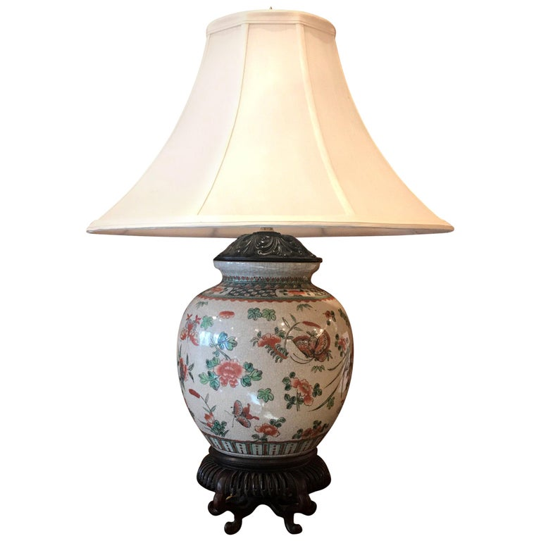Antique 19th Century Chinese Porcelain Lamp For Sale