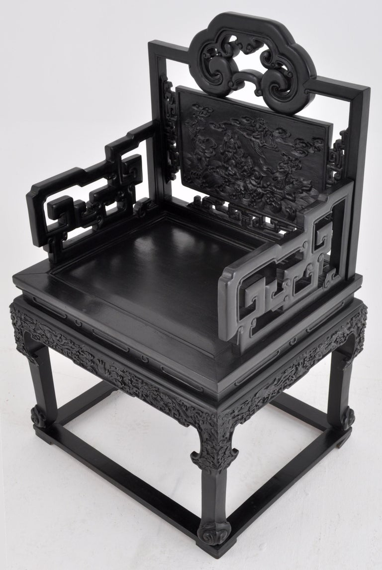 Antique 19th Century Chinese Qing Dynasty Carved Ebonized Rosewood Chair In Good Condition For Sale In Portland, OR