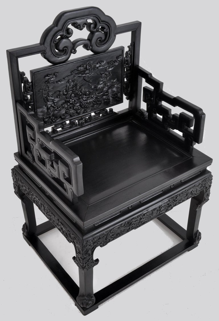 Antique 19th Century Chinese Qing Dynasty Carved Ebonized Rosewood Chair For Sale 1