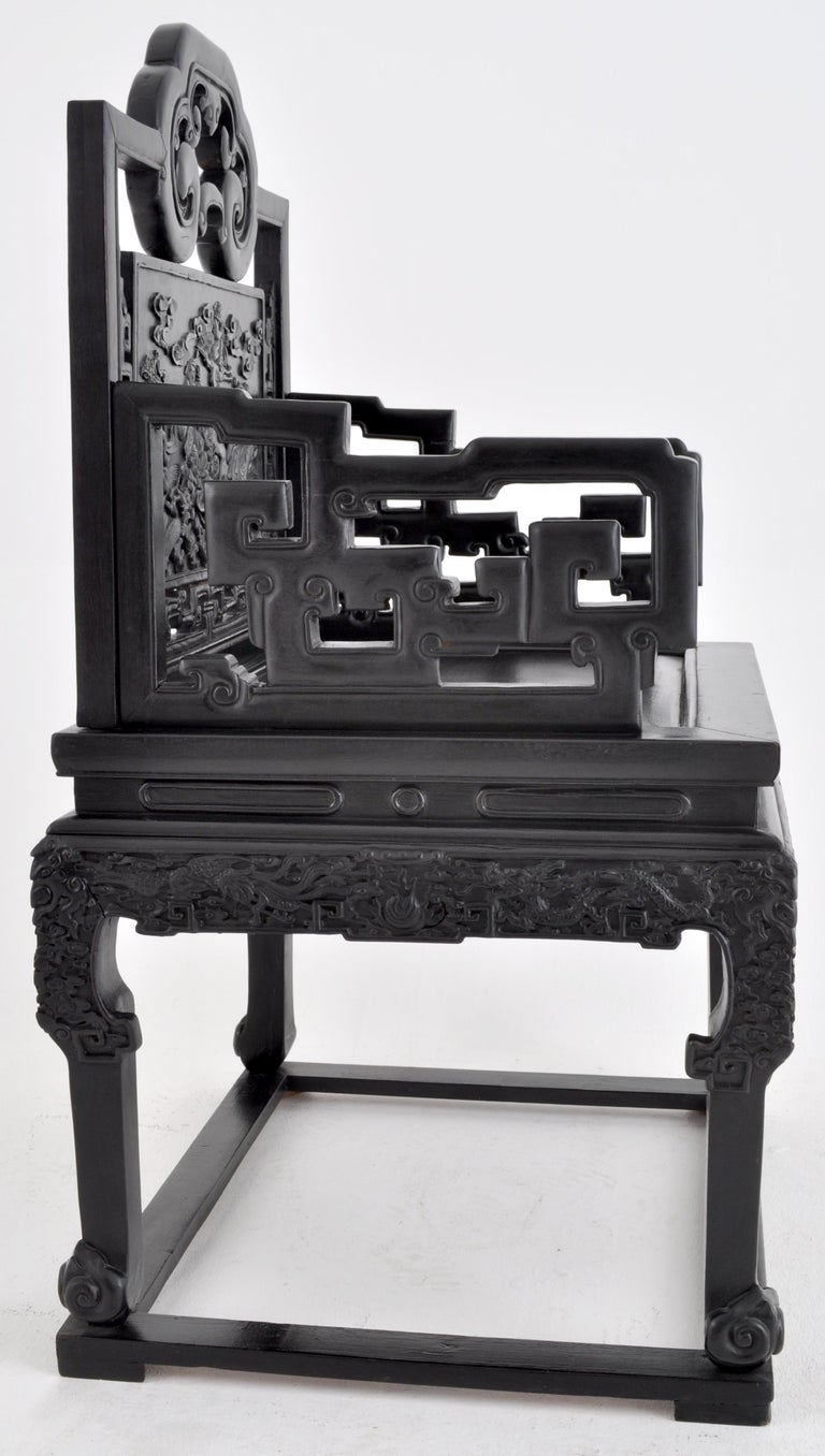 Antique 19th Century Chinese Qing Dynasty Carved Ebonized Rosewood Chair For Sale 2