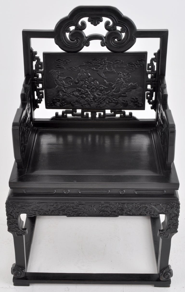 Antique 19th Century Chinese Qing Dynasty Carved Ebonized Rosewood Chair For Sale 4