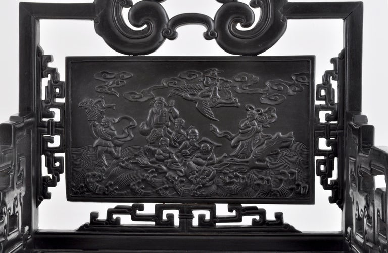 Antique 19th Century Chinese Qing Dynasty Carved Ebonized Rosewood Chair For Sale 6