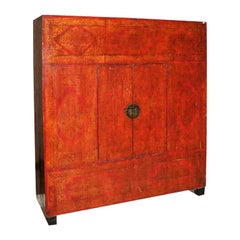 Antique 19th Century Chinese Red Lacquered Elm Wedding Cabinet