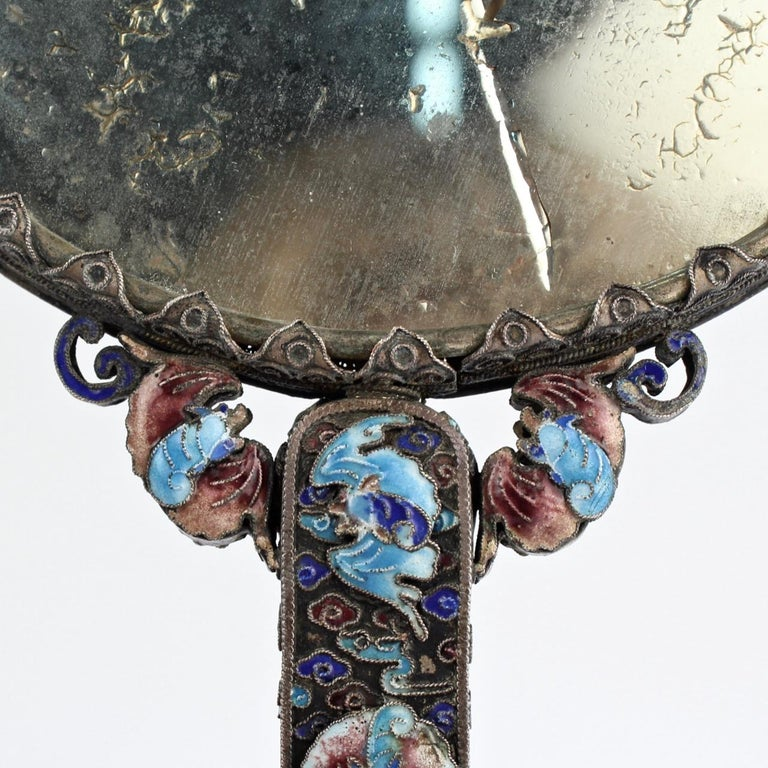 Antique 19th Century Chinese Silver Enamel and Jade Hand Mirror 10