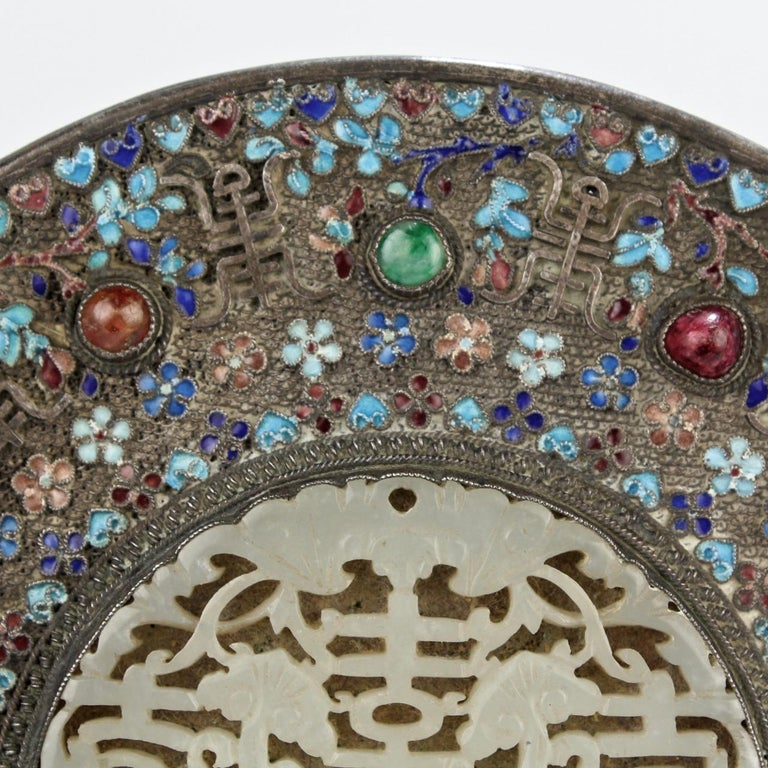 Antique 19th Century Chinese Silver Enamel and Jade Hand Mirror 1