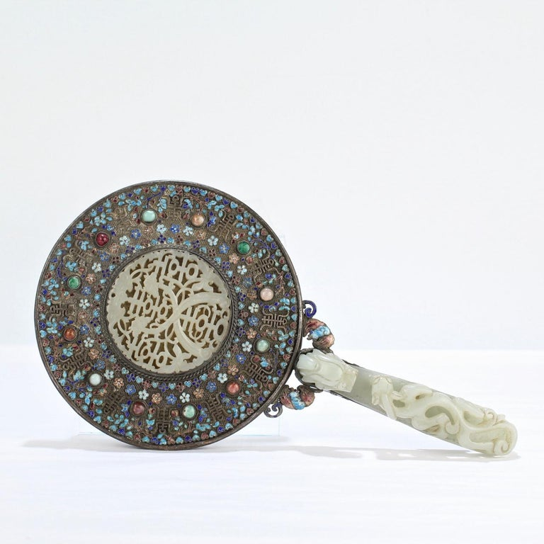 Antique 19th Century Chinese Silver Enamel and Jade Hand Mirror 4