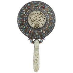 Antique 19th Century Chinese Silver Enamel and Jade Hand Mirror