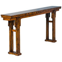 Antique 19th Century Chinese Yellow Lacquered Console Altar Table