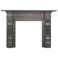 Antique 19th Century Coalbrookdale Victorian Cast Iron Fireplace Surround