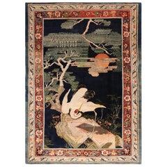 Antique 19th Century Crane Bird Landscape Chinese Carpet
