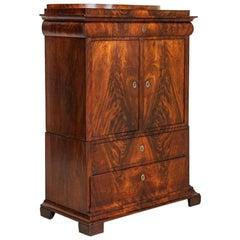 Antique 19th Century Danish 2 Door Flame Mahogany Cabinet