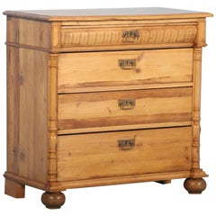 Antique 19th Century Danish Pine Chest of Drawers
