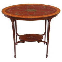 Antique 19th Century Decorated Satinwood and Mahogany Table Occasional