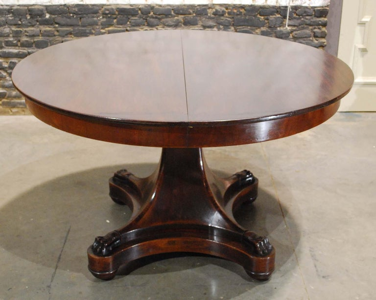 19th Century Antique 19th century Dutch Empire Extendable Mahogany Dining Table For Sale