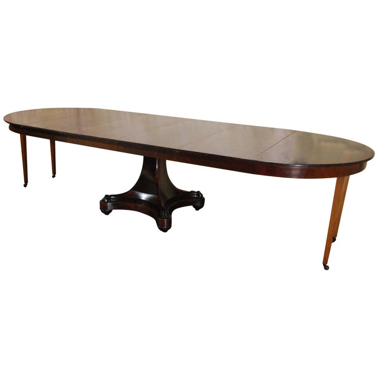 Antique 19th century Dutch Empire Extendable Mahogany Dining Table For Sale