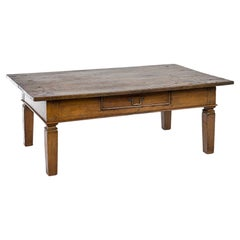 Antique 19th Century Dutch Teak Honey Color Coffee Table with Drawer