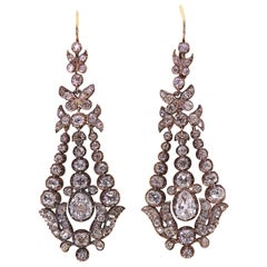 Antique, 19th Century, Early Victorian, Large Diamond Drop Earrings